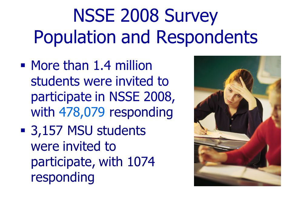 NSSE 2008 Response Rates  MSU's response rate = 34% (up from 25% in 2007) Average Institutional Response Rates  37% for all NSSE 2008 institutions  39% for Web-only institutions