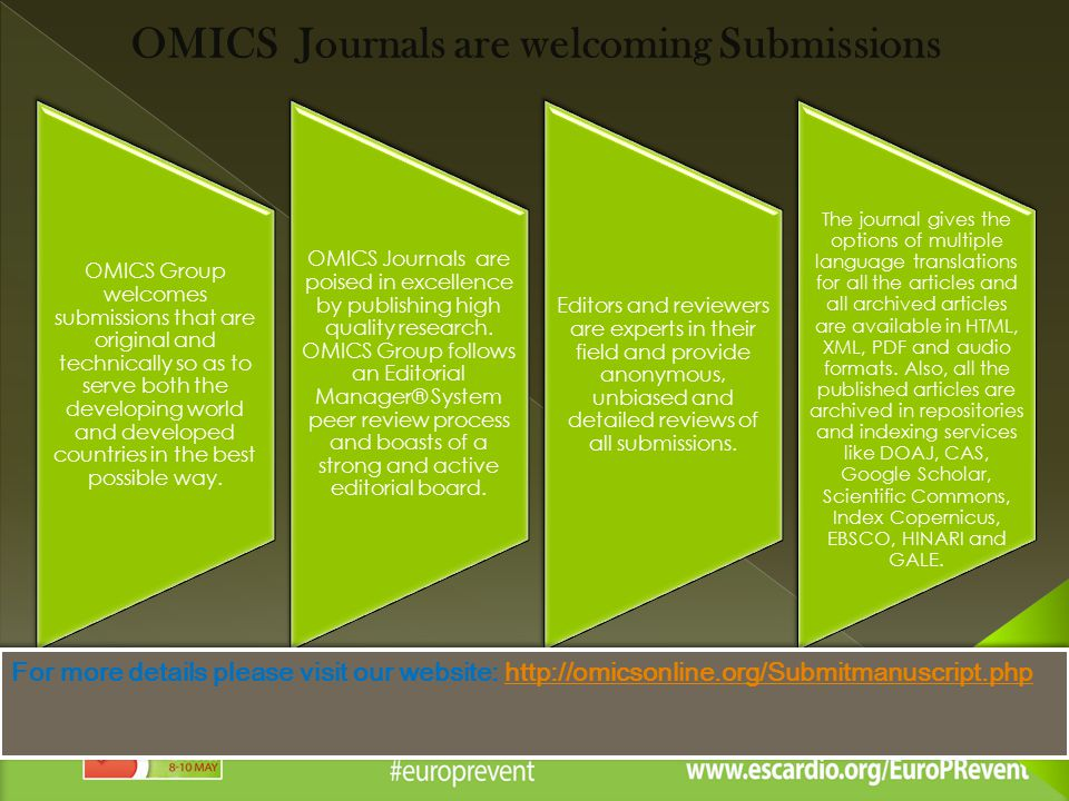 OMICS Journals are welcoming Submissions OMICS Group welcomes submissions that are original and technically so as to serve both the developing world and developed countries in the best possible way.