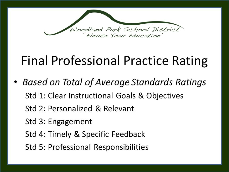 Final Professional Practice Rating Based on Total of Average Standards Ratings Std 1: Clear Instructional Goals & Objectives Std 2: Personalized & Relevant Std 3: Engagement Std 4: Timely & Specific Feedback Std 5: Professional Responsibilities