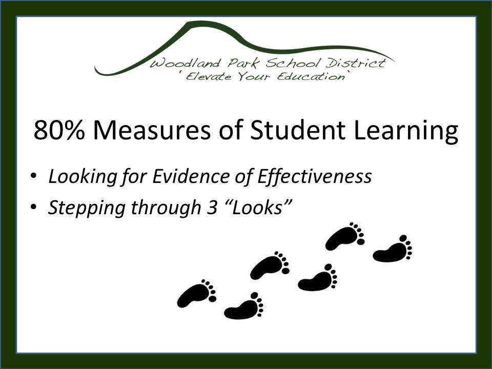 80% Measures of Student Learning Looking for Evidence of Effectiveness Stepping through 3 Looks