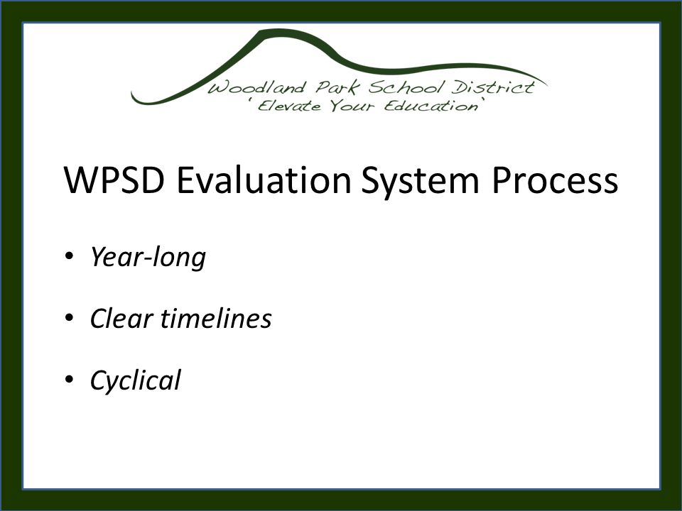 WPSD Evaluation System Process Year-long Clear timelines Cyclical