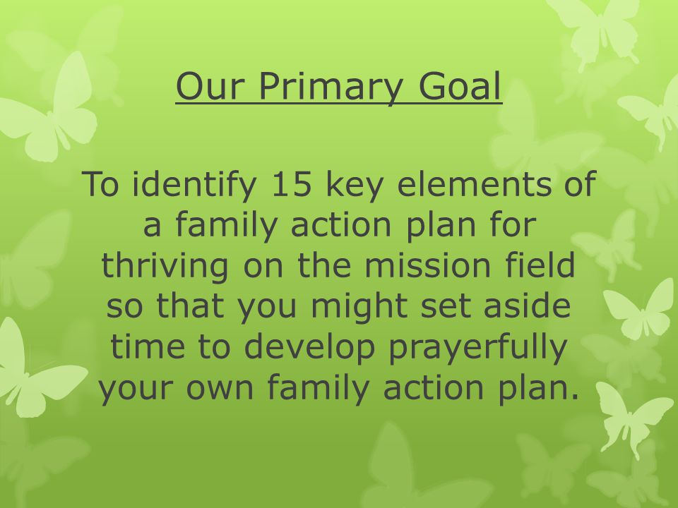Our Primary Goal To identify 15 key elements of a family action plan for thriving on the mission field so that you might set aside time to develop prayerfully your own family action plan.