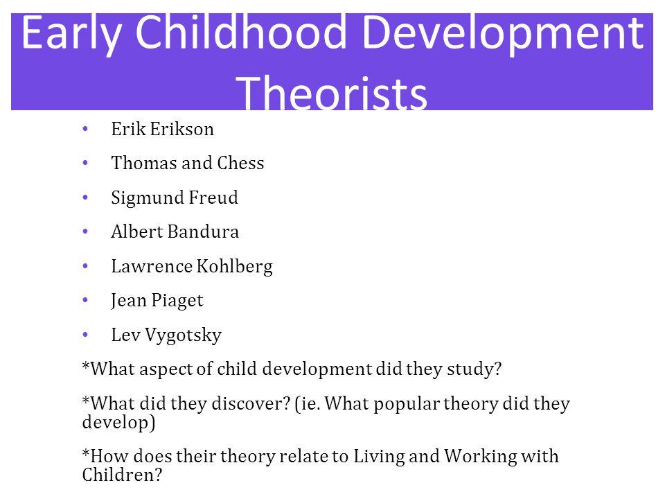 Early Childhood Development Theorists Erik Erikson Thomas and Chess Sigmund Freud Albert Bandura Lawrence Kohlberg Jean Piaget Lev Vygotsky *What aspe