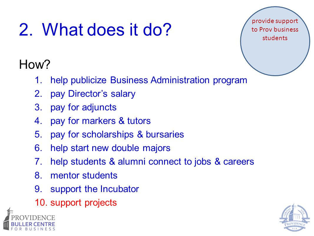 2.What does it do? How? 1.help publicize Business Administration program 2.pay Director's salary 3.pay for adjuncts 4.pay for markers & tutors 5.pay f