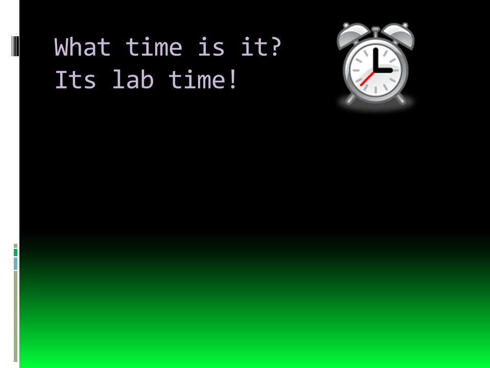 What time is it Its lab time!