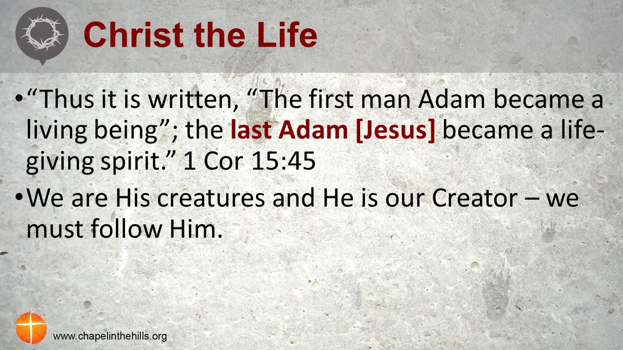 "Christ the Life ""Thus it is written, ""The first man Adam became a living being""; the last Adam [Jesus] became a life- giving spirit."" 1 Cor 15:45 We a"