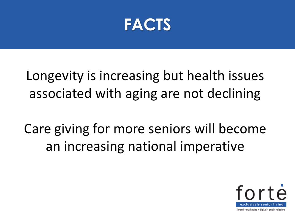 Longevity is increasing but health issues associated with aging are not declining Care giving for more seniors will become an increasing national imperative PURPOSE FACTS