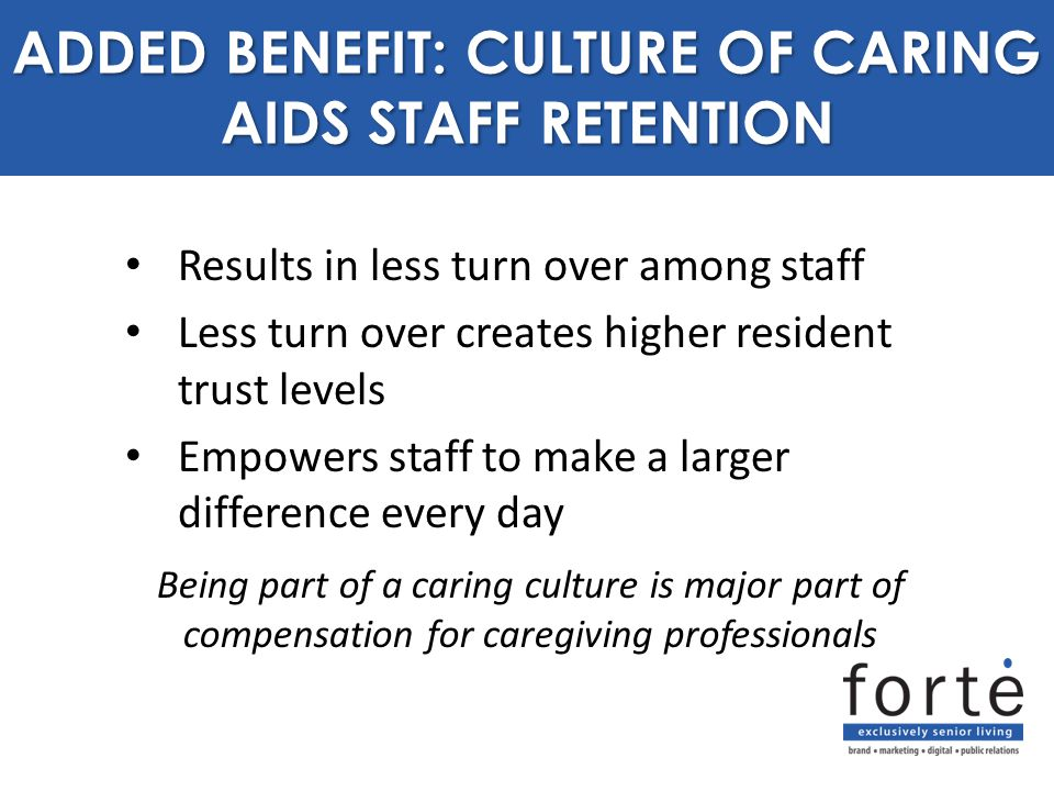 Results in less turn over among staff Less turn over creates higher resident trust levels Empowers staff to make a larger difference every day ADDED B