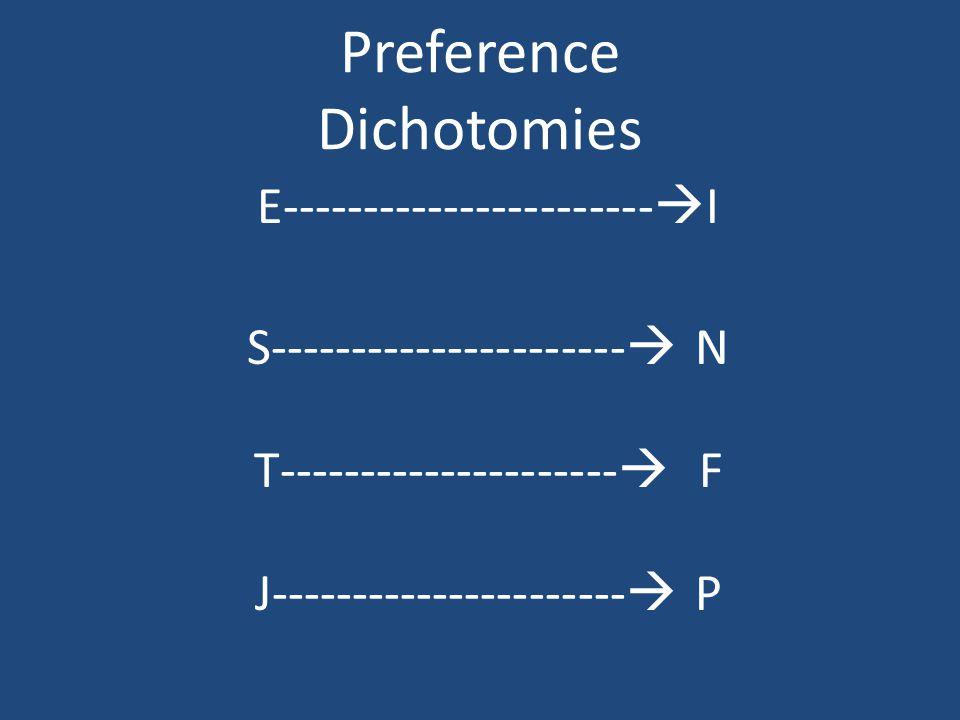 Preference Dichotomies E-----------------------  I S----------------------  N T---------------------  F J----------------------  P