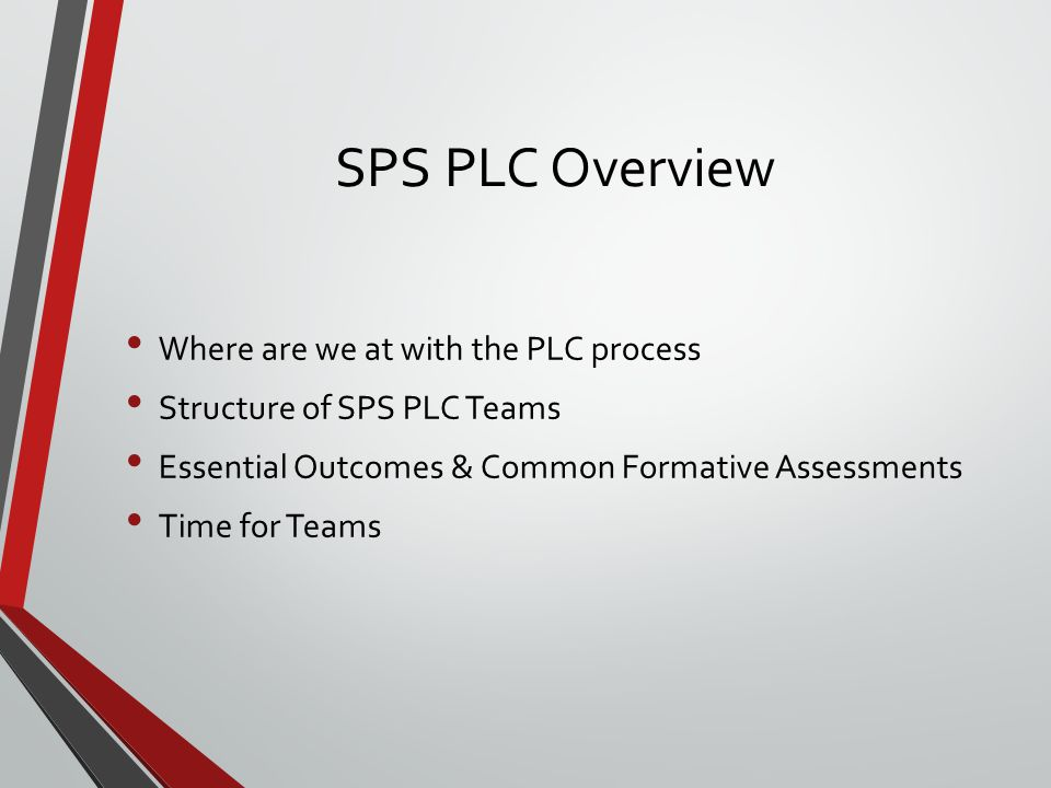 SPS PLC Overview Where are we at with the PLC process Structure of SPS PLC Teams Essential Outcomes & Common Formative Assessments Time for Teams