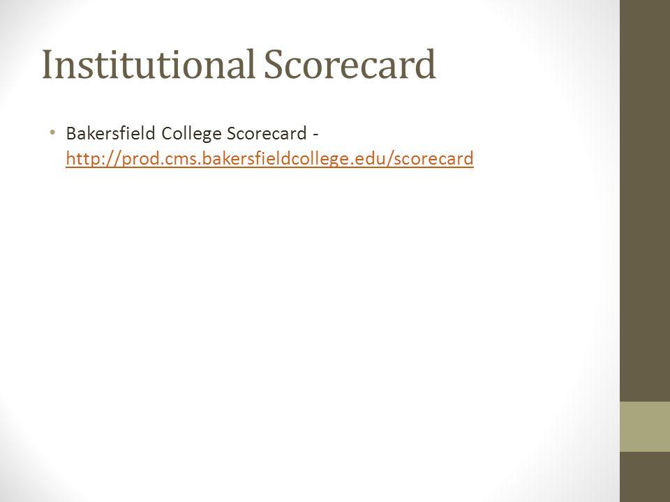 Institutional Scorecard Bakersfield College Scorecard - http://prod.cms.bakersfieldcollege.edu/scorecard http://prod.cms.bakersfieldcollege.edu/scorec