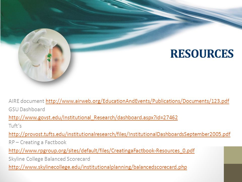 RESOURCES AIRE document http://www.airweb.org/EducationAndEvents/Publications/Documents/123.pdfhttp://www.airweb.org/EducationAndEvents/Publications/Documents/123.pdf GSU Dashboard http://www.govst.edu/Institutional_Research/dashboard.aspx id=27462 Tuft's http://provost.tufts.edu/institutionalresearch/files/InstitutionalDashboardsSeptember2005.pdf RP – Creating a Factbook http://www.rpgroup.org/sites/default/files/CreatingaFactbook-Resources_0.pdf Skyline College Balanced Scorecard http://www.skylinecollege.edu/institutionalplanning/balancedscorecard.php
