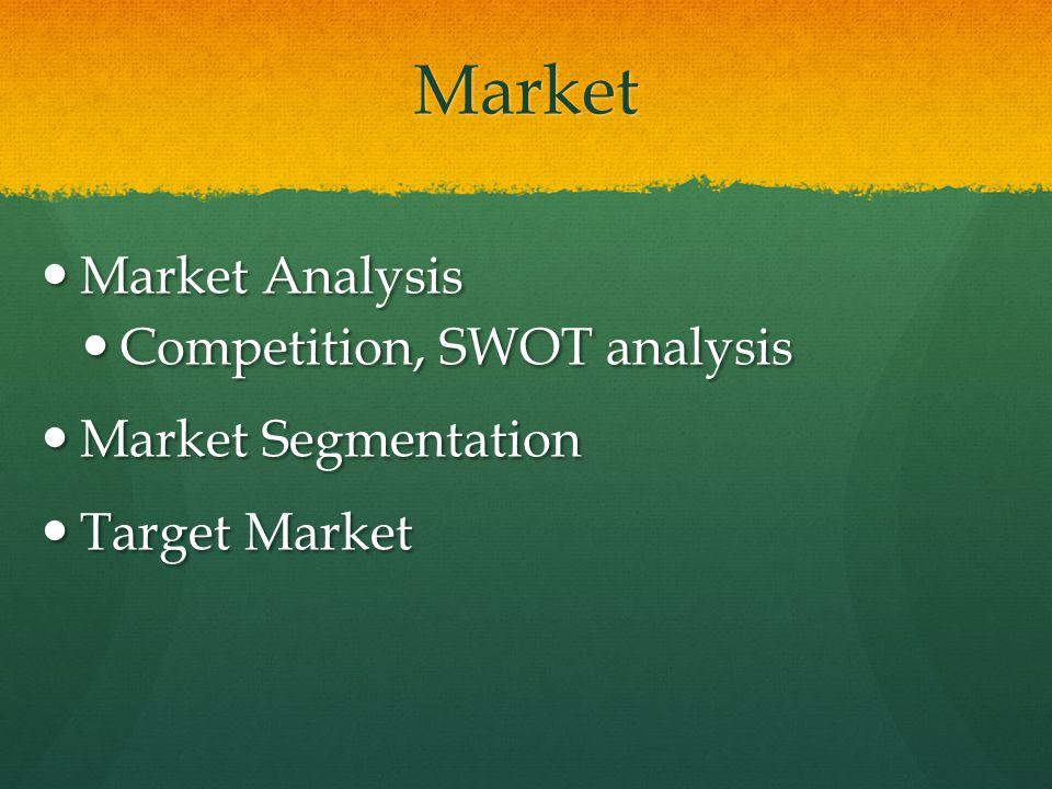 Market Market Analysis Market Analysis Competition, SWOT analysis Competition, SWOT analysis Market Segmentation Market Segmentation Target Market Target Market