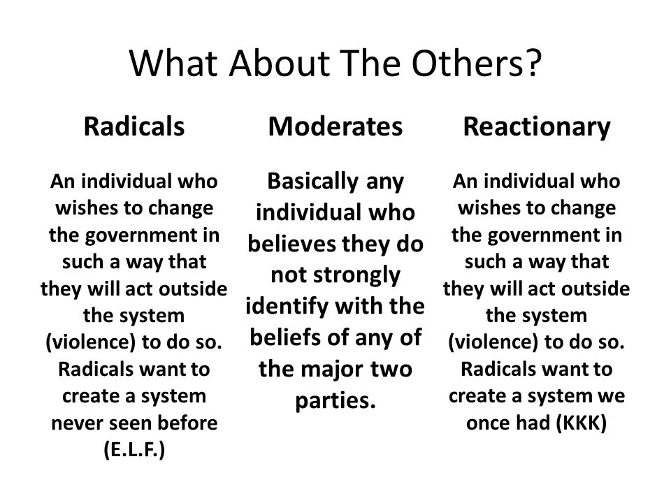 What About The Others? ModeratesRadicalsReactionary Basically any individual who believes they do not strongly identify with the beliefs of any of the