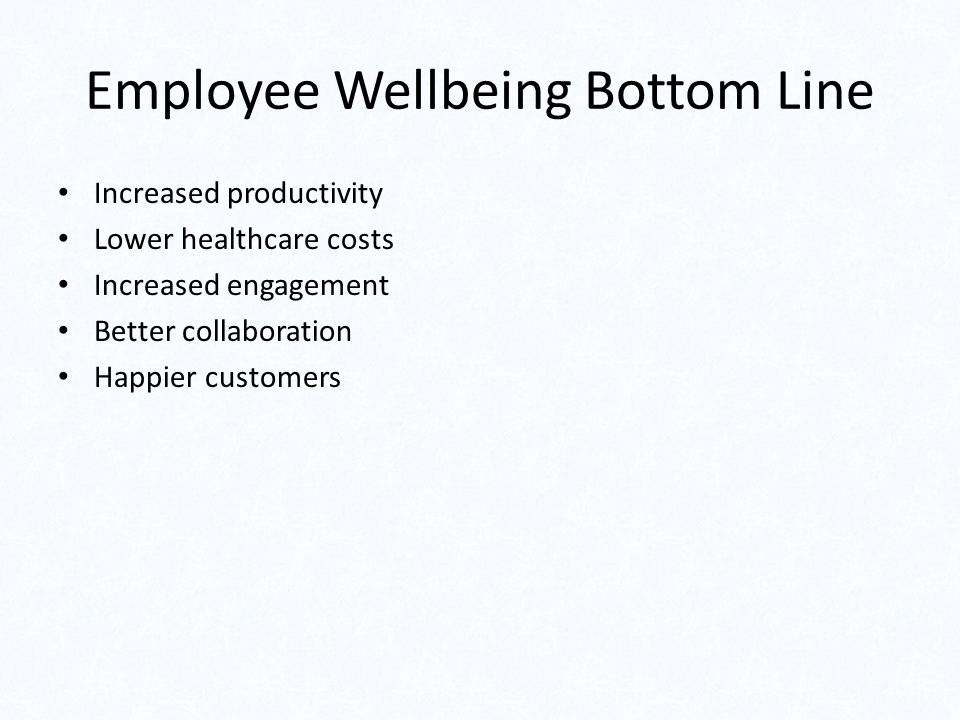 Employee Wellbeing Bottom Line Increased productivity Lower healthcare costs Increased engagement Better collaboration Happier customers