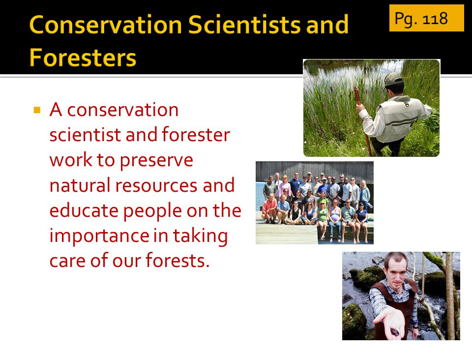  A conservation scientist and forester work to preserve natural resources and educate people on the importance in taking care of our forests.