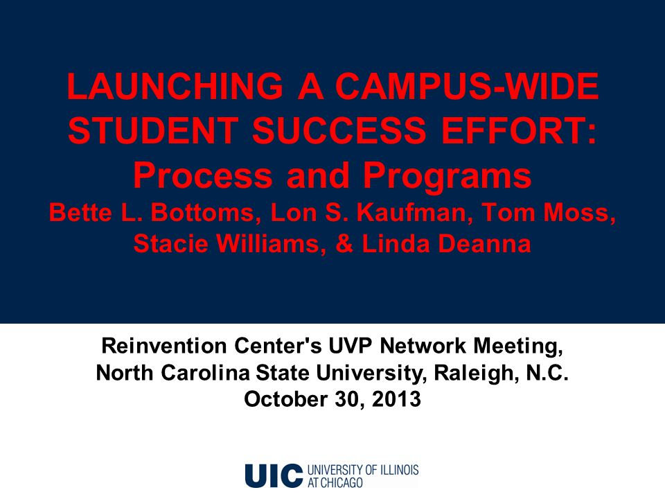 LAUNCHING A CAMPUS-WIDE STUDENT SUCCESS EFFORT: Process and Programs Bette L.