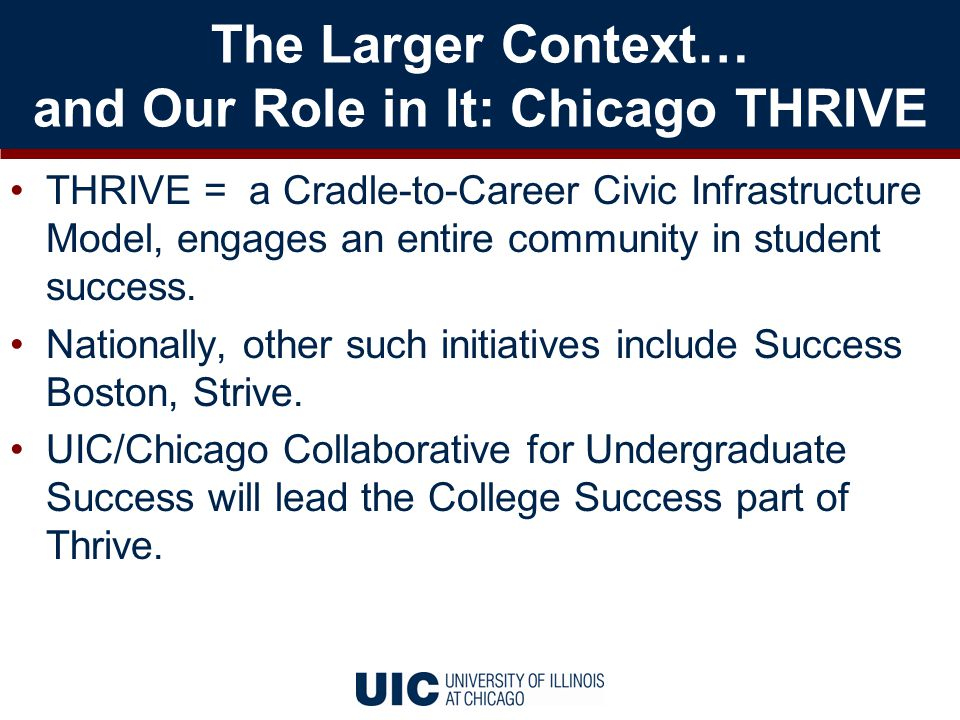 The Larger Context… and Our Role in It: Chicago THRIVE THRIVE = a Cradle-to-Career Civic Infrastructure Model, engages an entire community in student success.