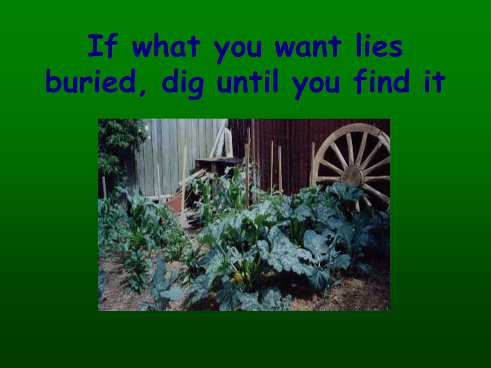 If what you want lies buried, dig until you find it