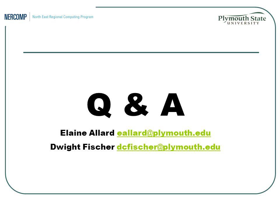Q & A Elaine Allard eallard@plymouth.edueallard@plymouth.edu Dwight Fischer dcfischer@plymouth.edudcfischer@plymouth.edu