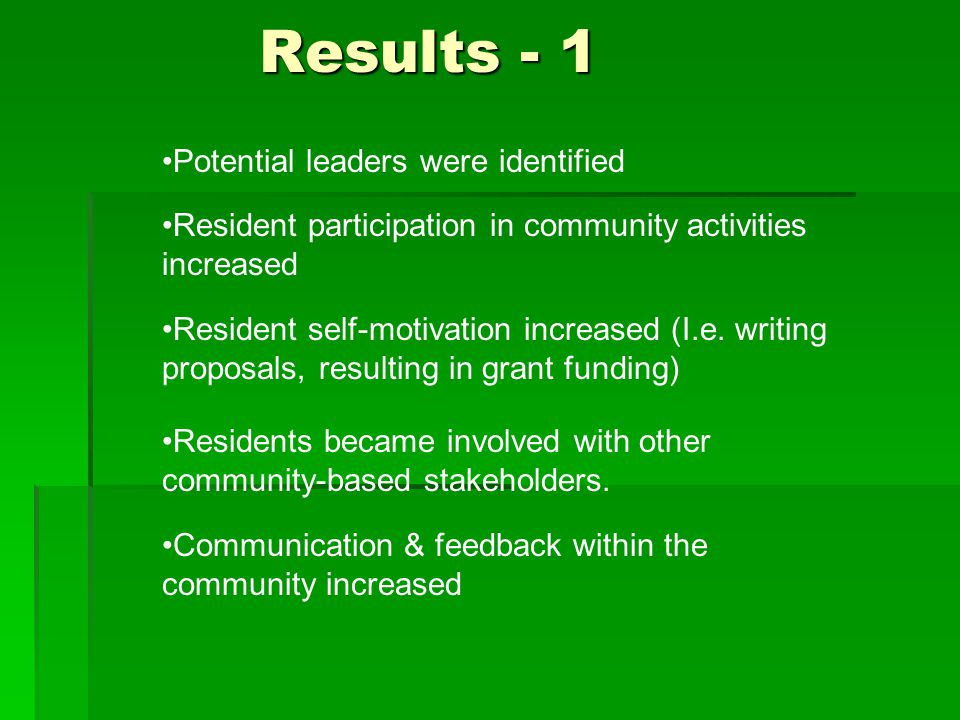 Potential leaders were identified Resident participation in community activities increased Results - 1 Resident self-motivation increased (I.e.