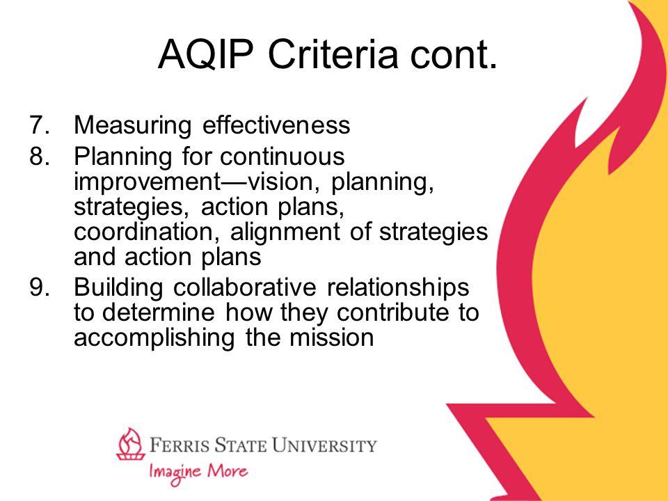 AQIP Criteria cont. 7.Measuring effectiveness 8.Planning for continuous improvement—vision, planning, strategies, action plans, coordination, alignmen