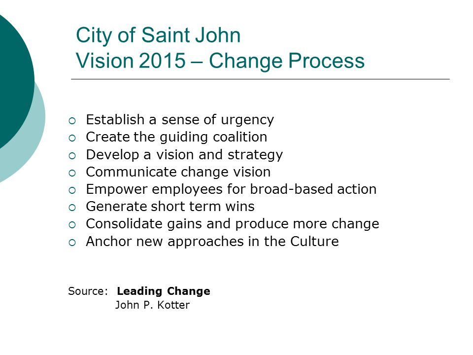 City of Saint John Vision 2015 – Change Process  Establish a sense of urgency  Create the guiding coalition  Develop a vision and strategy  Communicate change vision  Empower employees for broad-based action  Generate short term wins  Consolidate gains and produce more change  Anchor new approaches in the Culture Source: Leading Change John P.