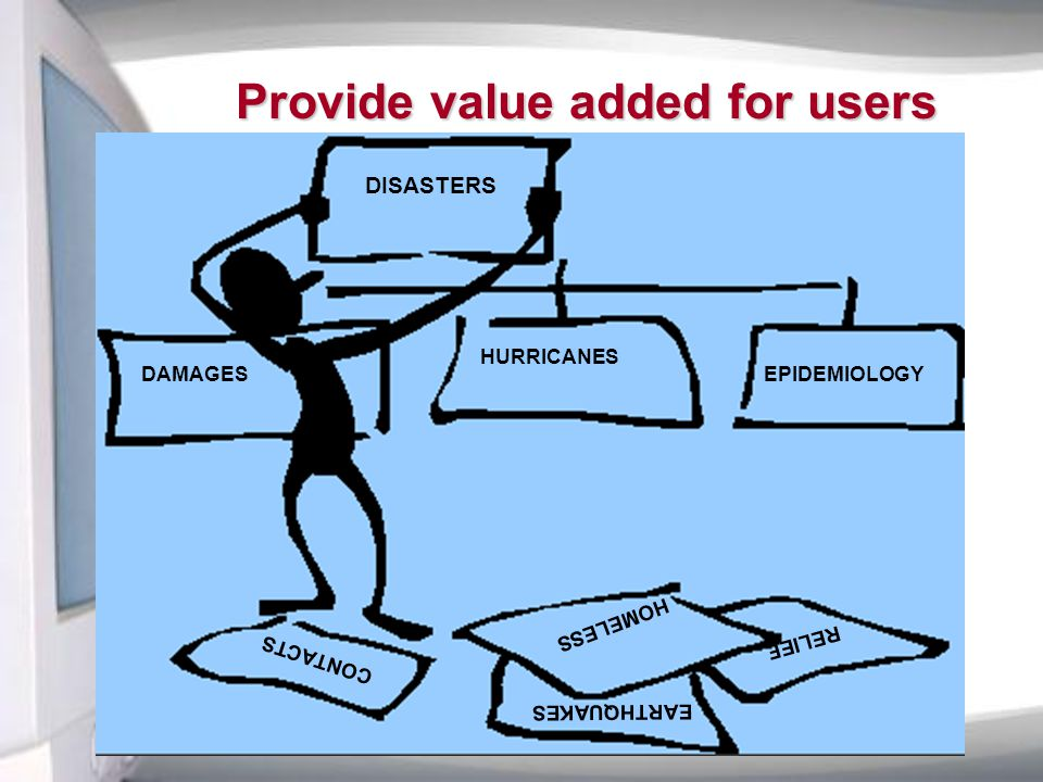Provide value added for users DISASTERS HURRICANES EPIDEMIOLOGY CONTACTS HOMELESS EARTHQUAKES RELIEF DAMAGES