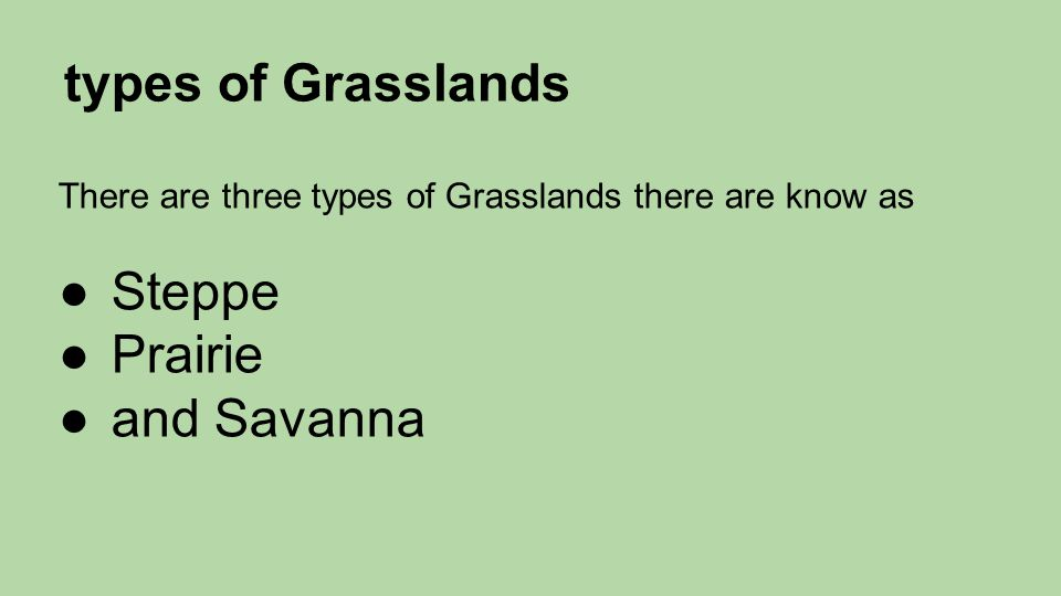 types of Grasslands There are three types of Grasslands there are know as ●Steppe ●Prairie ●and Savanna