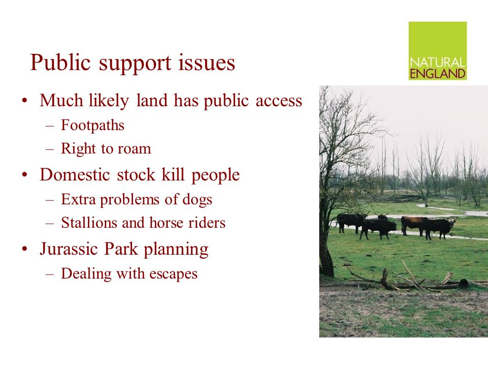 Public support issues Much likely land has public access –Footpaths –Right to roam Domestic stock kill people –Extra problems of dogs –Stallions and h