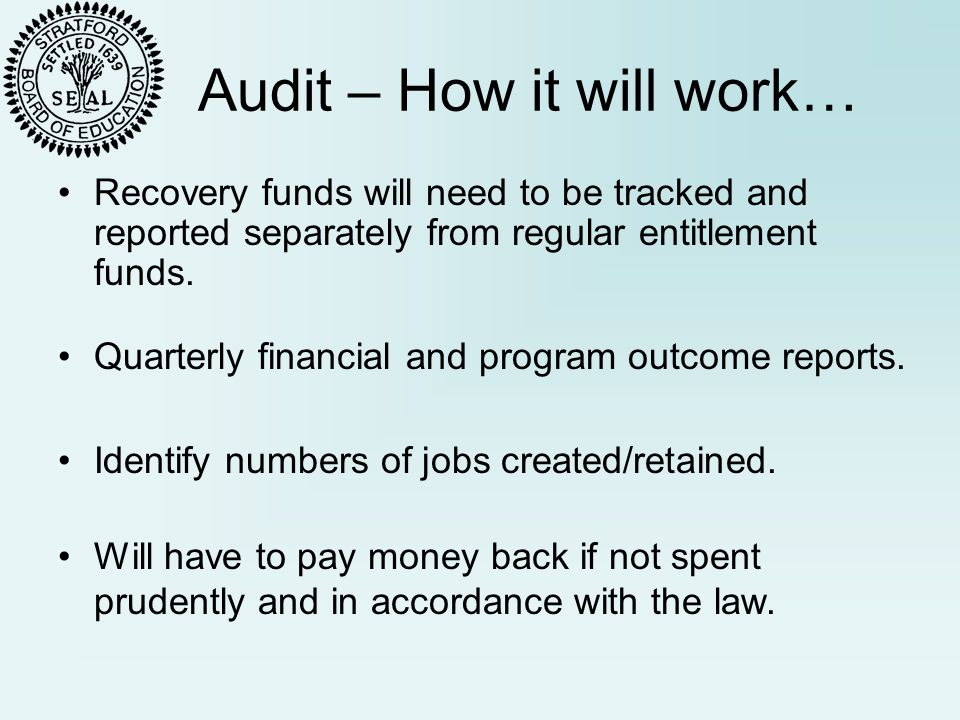 Audit – How it will work… Recovery funds will need to be tracked and reported separately from regular entitlement funds.