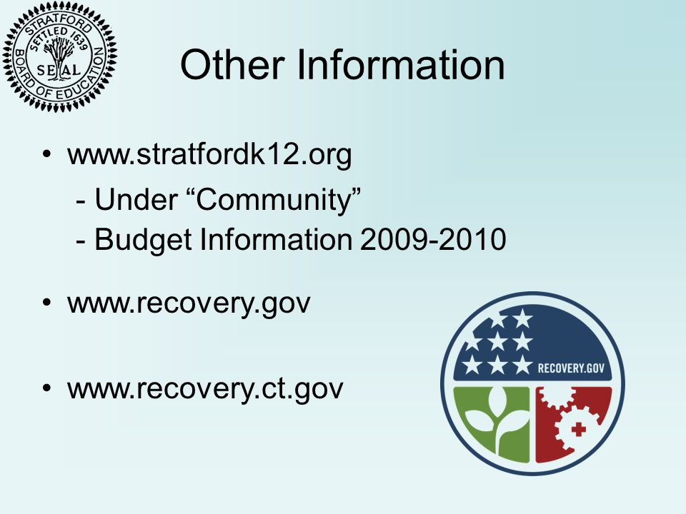 Other Information - Under Community - Budget Information 2009-2010 www.recovery.gov www.recovery.ct.gov www.stratfordk12.org