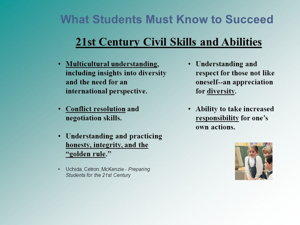 21st Century Civil Skills and Abilities Multicultural understanding, including insights into diversity and the need for an international perspective.