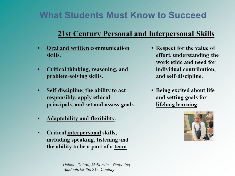 21st Century Personal and Interpersonal Skills Oral and written communication skills.