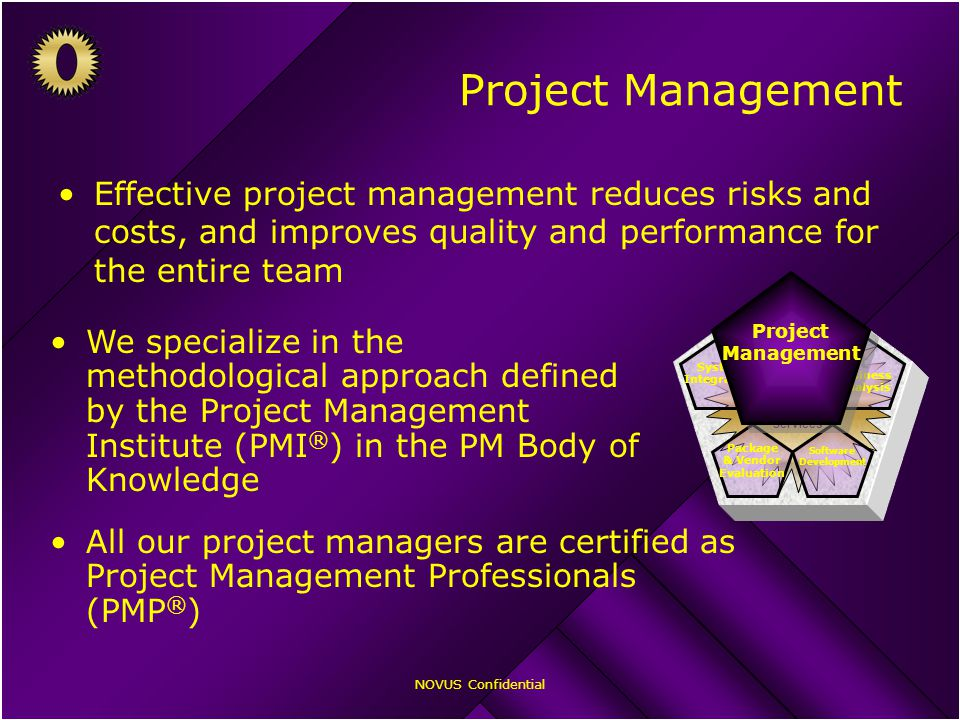 NOVUS Confidential Project Management Effective project management reduces risks and costs, and improves quality and performance for the entire team NOVUS Professional Services Business Analysis Software Development Package & Vendor Evaluation System Integration Project Management Project Management We specialize in the methodological approach defined by the Project Management Institute (PMI ® ) in the PM Body of Knowledge All our project managers are certified as Project Management Professionals (PMP ® )