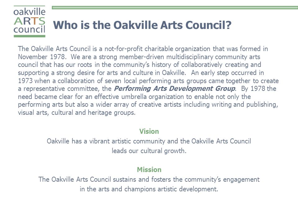 Who is the Oakville Arts Council.