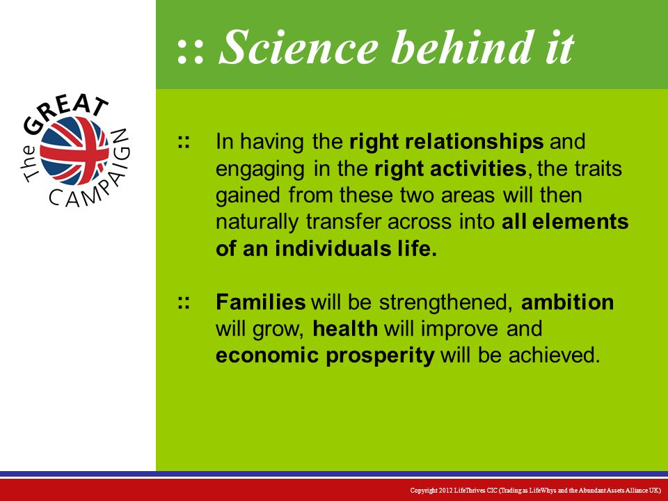 :: Science behind it In having the right relationships and engaging in the right activities, the traits gained from these two areas will then naturally transfer across into all elements of an individuals life.