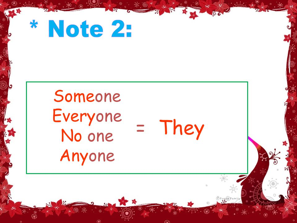 Someone Everyone No one Anyone They=