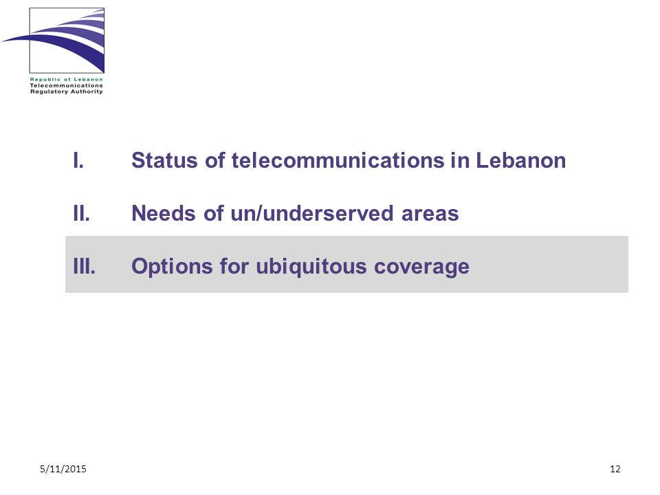 I.Status of telecommunications in Lebanon II.Needs of un/underserved areas III.Options for ubiquitous coverage 5/11/201512