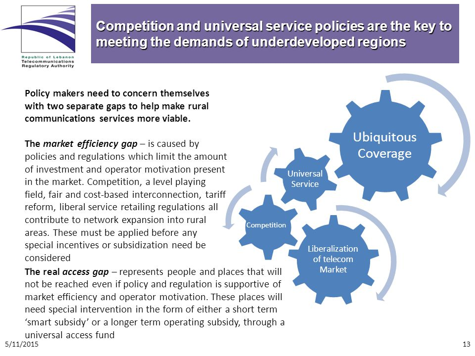 Competition and universal service policies are the key to meeting the demands of underdeveloped regions Policy makers need to concern themselves with two separate gaps to help make rural communications services more viable.