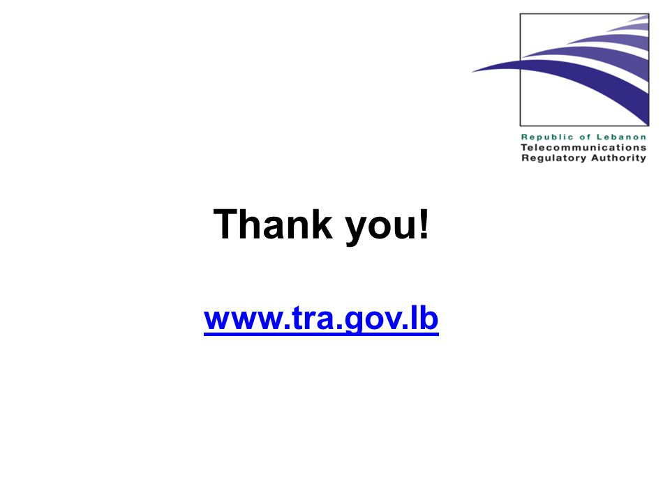 Thank you! www.tra.gov.lb www.tra.gov.lb