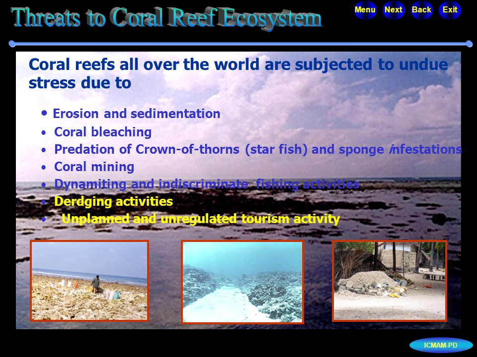 ICMAM-PD MenuNextBackExit Erosion and sedimentation Coral bleaching Predation of Crown-of-thorns (star fish) and sponge infestations Coral mining Dyna
