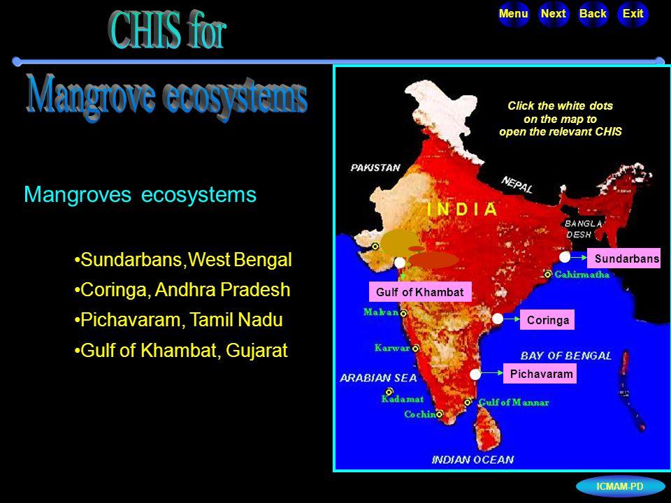 ICMAM-PD MenuNextBackExit Mangroves ecosystems Sundarbans,West Bengal Coringa, Andhra Pradesh Pichavaram, Tamil Nadu Gulf of Khambat, Gujarat Click th
