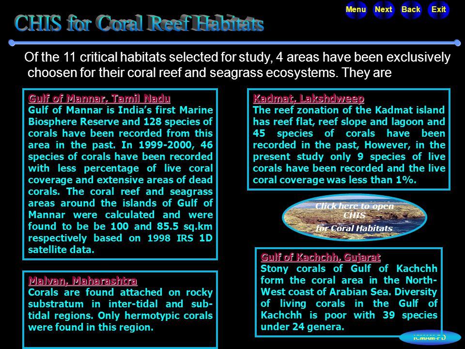 ICMAM-PD MenuNextBackExit Gulf of Mannar, Tamil Nadu Gulf of Mannar, Tamil Nadu Gulf of Mannar is India's first Marine Biosphere Reserve and 128 speci