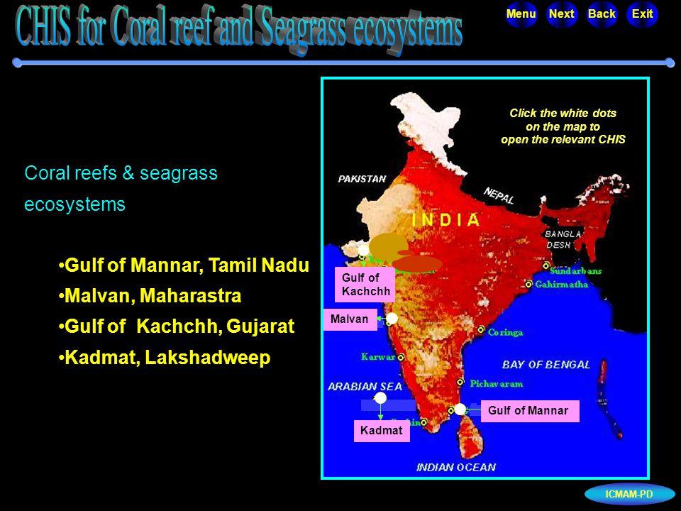 ICMAM-PD MenuNextBackExit Coral reefs & seagrass ecosystems Gulf of Mannar, Tamil Nadu Malvan, Maharastra Gulf of Kachchh, Gujarat Kadmat, Lakshadweep