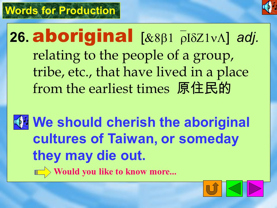 Words for Production 26.aboriginal [ &8b1`rIdZ1nL ] adj.