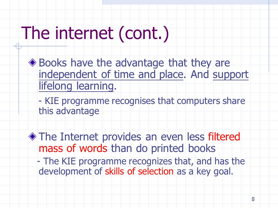 9 The knowledge integration environment programme The KIE programme, as described by Linn in three significant ways: - Breadth of partnershipBreadth of partnership - LinkingLinking - Training in learningTraining in learning