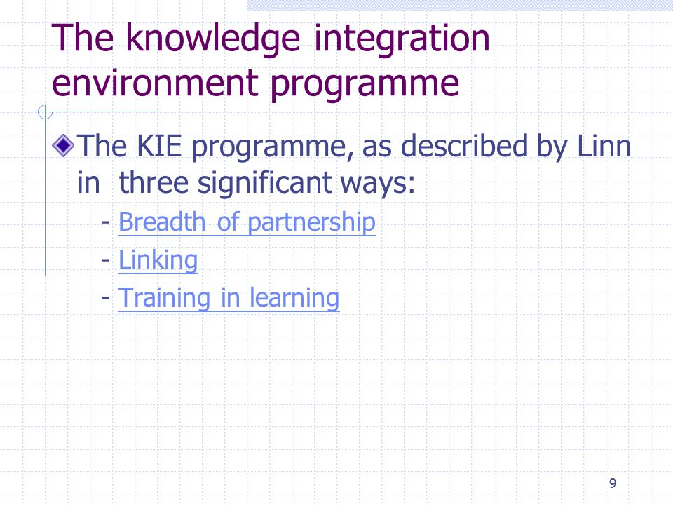 9 The knowledge integration environment programme The KIE programme, as described by Linn in three significant ways: - Breadth of partnershipBreadth o