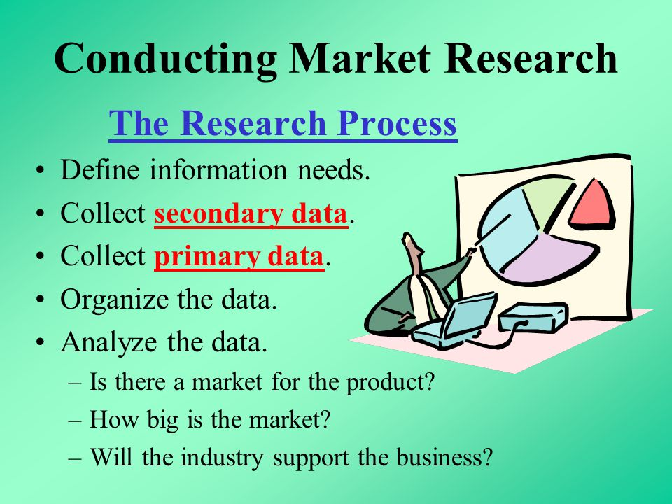 Conducting Market Research The Research Process Define information needs. Collect secondary data. Collect primary data. Organize the data. Analyze the