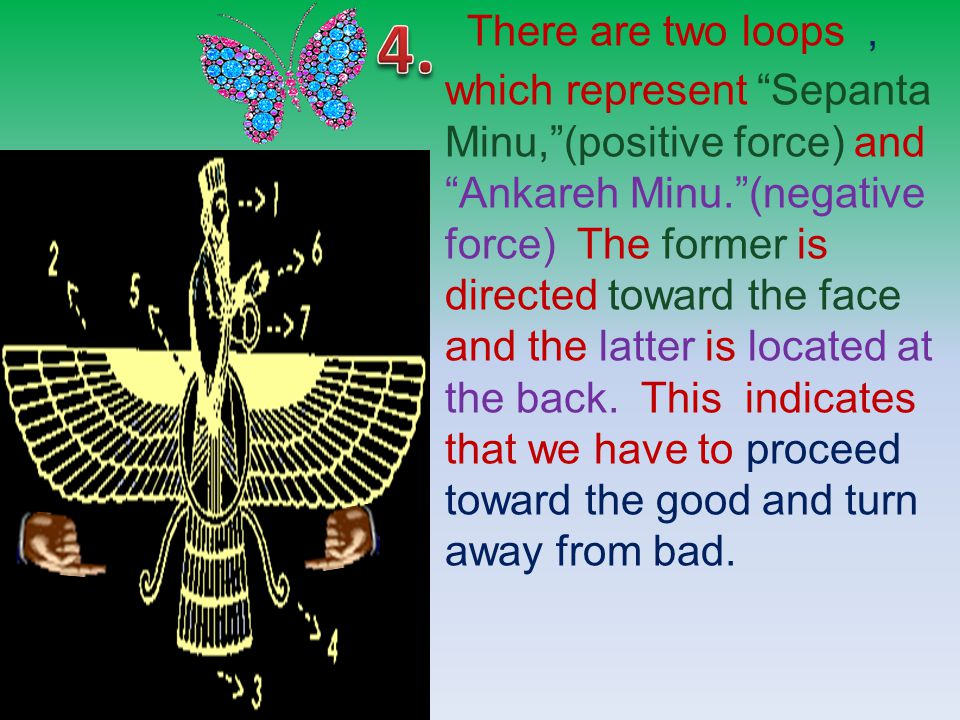 There are two loops, which represent Sepanta Minu, (positive force) and Ankareh Minu. (negative force) The former is directed toward the face and the latter is located at the back.